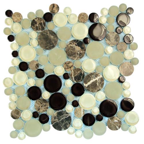 Agata Circle Emperador backsplash Mosaic Glass Tile