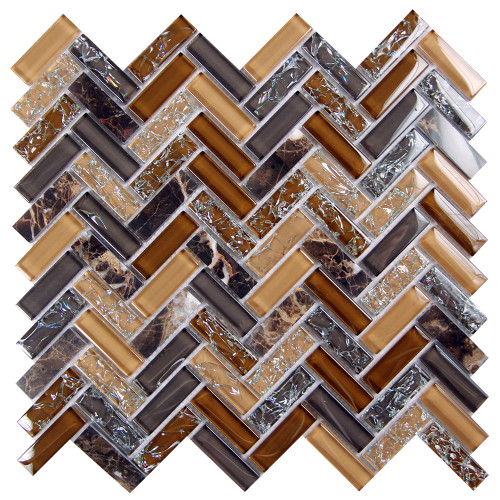 Archery Smoke Herringbone Mosaic Glass Tile