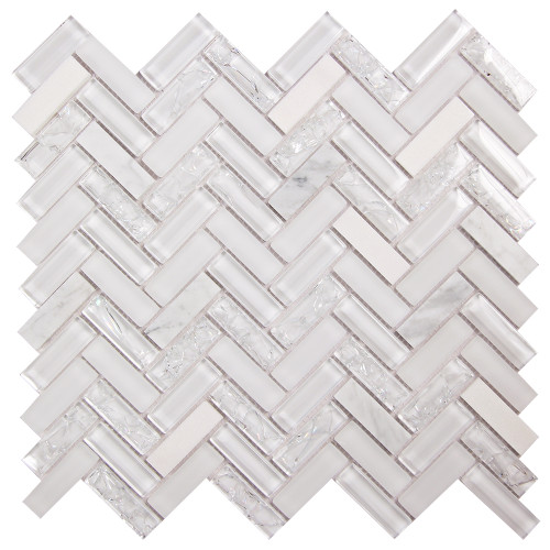 Archery White Oak Herringbone Mosaic Glass Tile