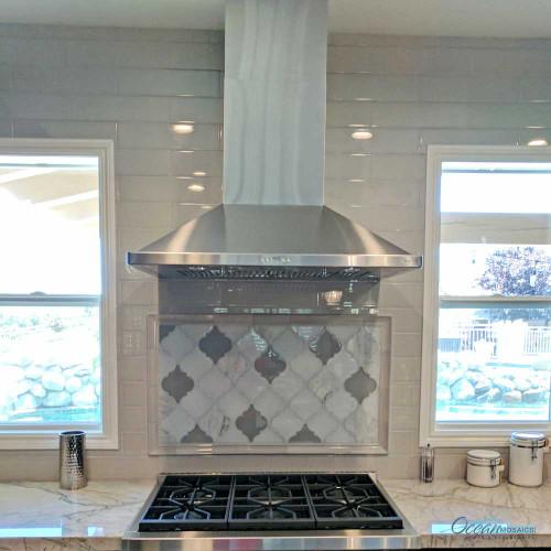 Clover Arabesque Grigio kitchen and stove backsplash