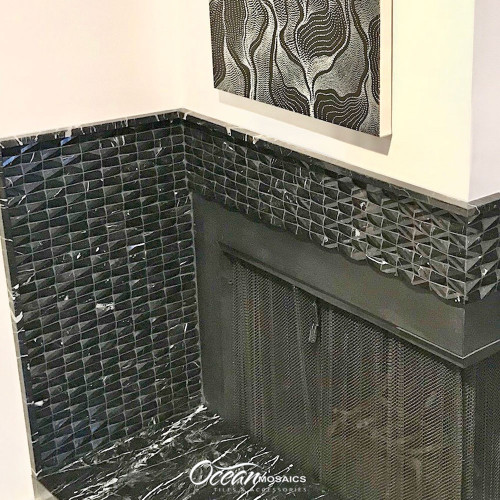 Diamond Marquina Black Marble Tile Fireplace Surround