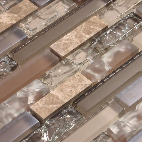 Eros 4 tan mosaic glass tile closeup