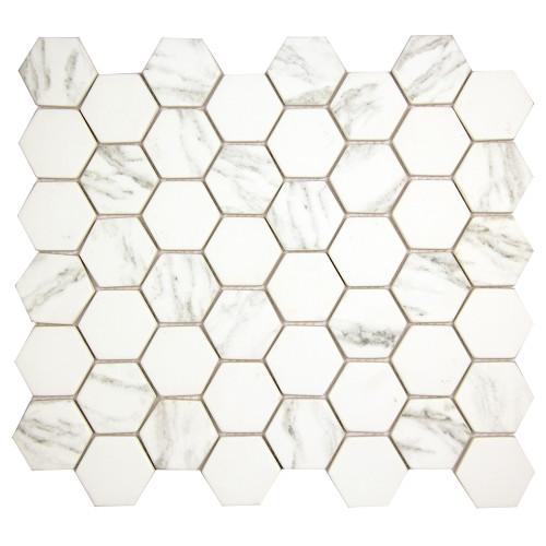 Hexacycle Carrara Hexagon Recycled Glass Tile