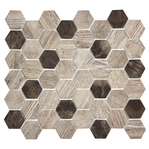 Hexacycle Silver Mist Hexagon Recycled Glass Tile