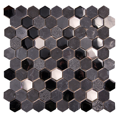 Hexagon Black Mosaic Glass Tile