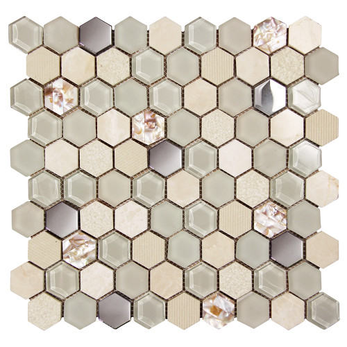 Hexagon Shell Beige Mosaic Glass Tile