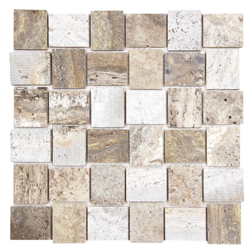 Linker Travertine Taupe Mosaic Stone Tile