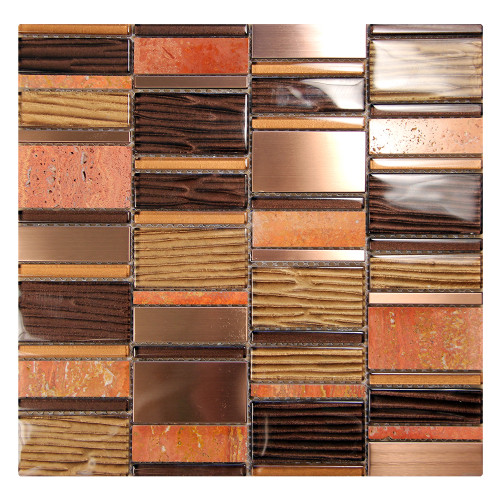 Loft Bronze Mosaic Glass Tile
