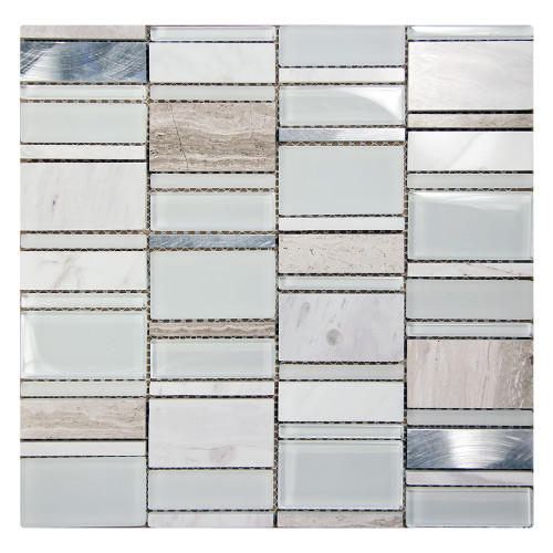 Loft White Mosaic Glass Tile