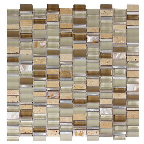 Ole Crema Mix Glass, Metal & Stone Mosaic Tile
