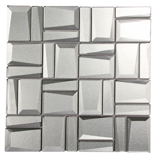 Prism Silver Geometric Mosaic Glass Tile
