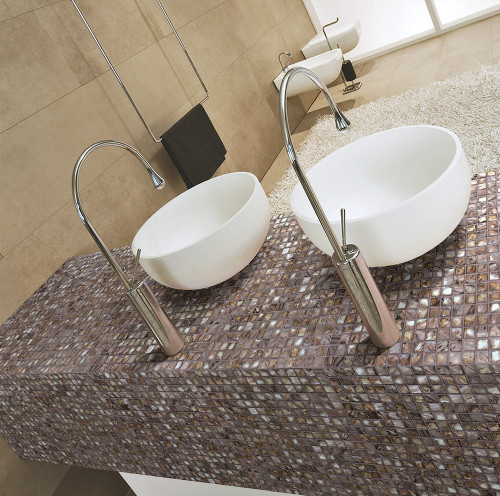 shell coffee mosaic glass tile