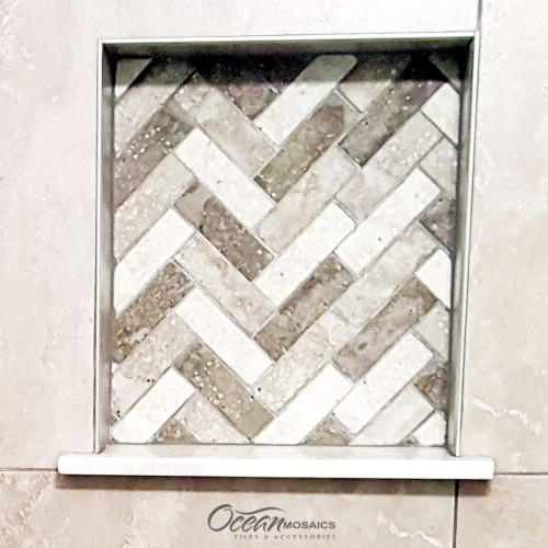 Spigacycle Silver Mix Chevron Recycled Glass Tile
