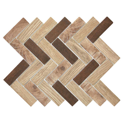 Spigacycle Wood Caoba Mix Herringbone Recycled Glass Tile