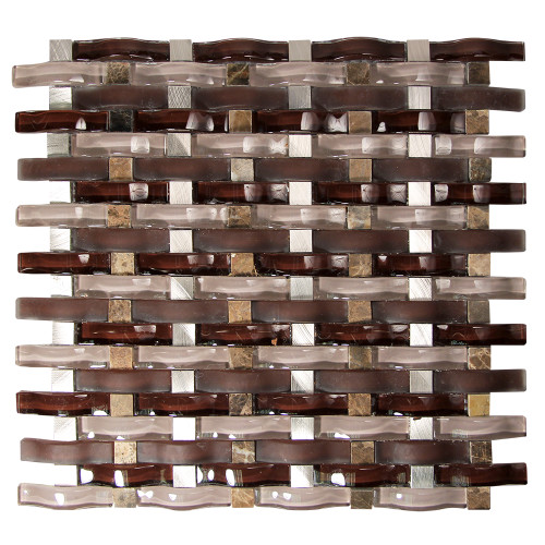 Woven Curved Baize Mosaic Glass Tile