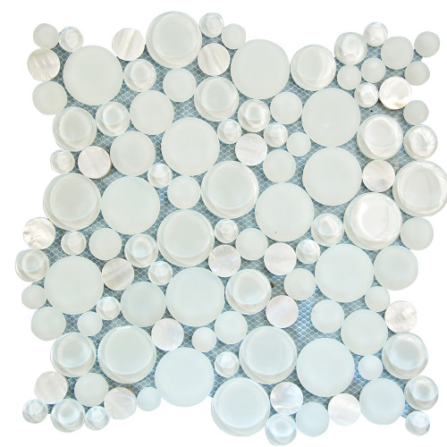 Agata Circle Shell White Mosaic Glass Tile