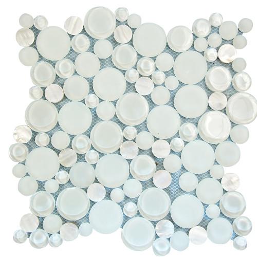 Agata Circle Shell White Mosaic Glass Tile