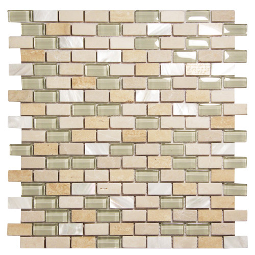Agata Shell Mix Beige Mosaic Glass Tile
