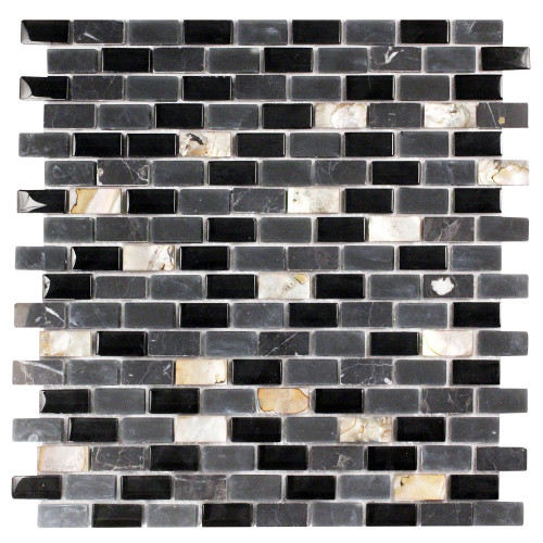 Agata Shell Mix Black Mosaic Glass Tile