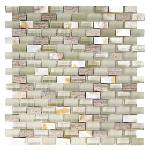 Agata Shell Mix Silver Mosaic Glass Tile