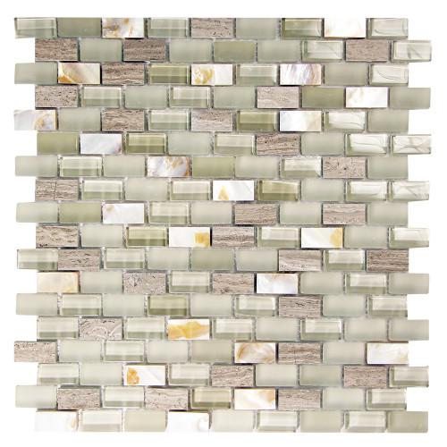 Agata Shell Mix Silver Mosaic Glass Tile