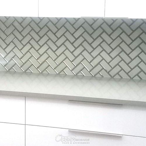 Mirror White Herringbone Metallic Glass Tile