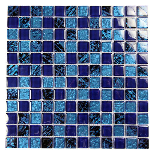 Splash Blue and Black Mix Glass Mosaic 7 Pool Tile