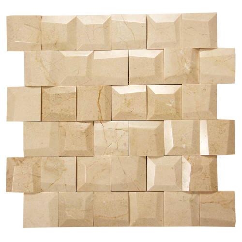 Adamant Crema Marfil Geometric Marble Mosaic Tile