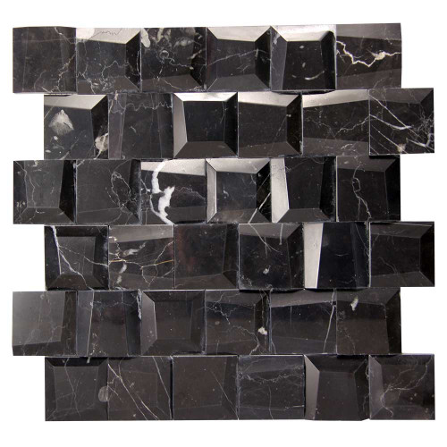 Adamant Marquina Geometric Marble Mosaic Tile