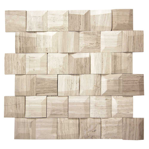 Adamant White Wood Geometric Marble Mosaic Tile