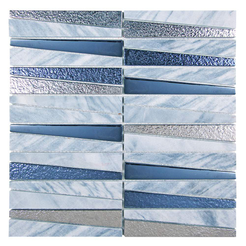 Prestige Grey and Blue Metalized Glass and Marble Tile