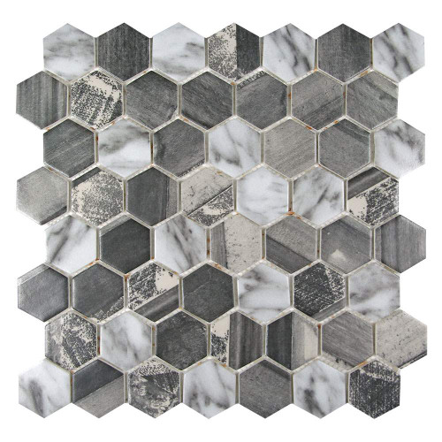 Sixcycle Grey Hexagon Recycled Glass Tile