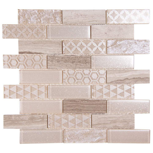 Core Mix White Wood Geometric Metallic Glass Tile