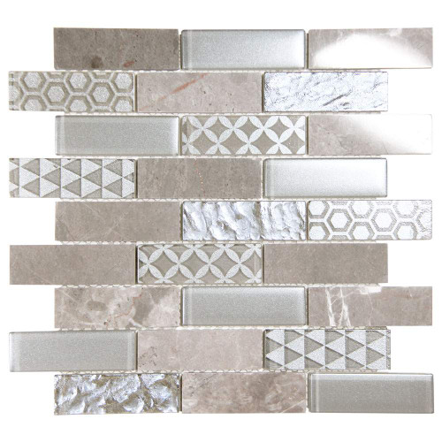 Core Silver Geometric Metallic Glass Tile