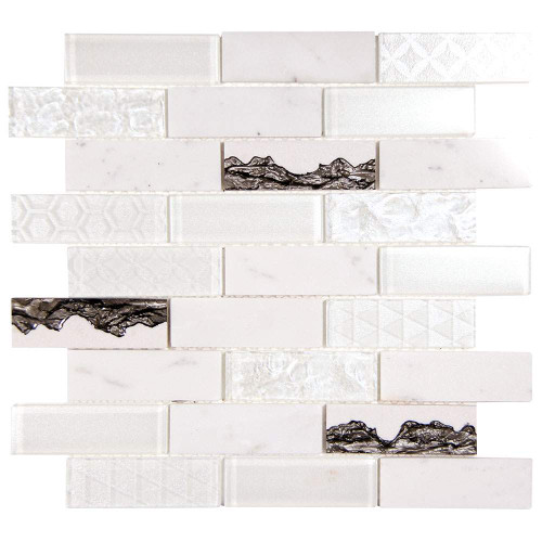 Core White Geometric Metallic Glass Tile