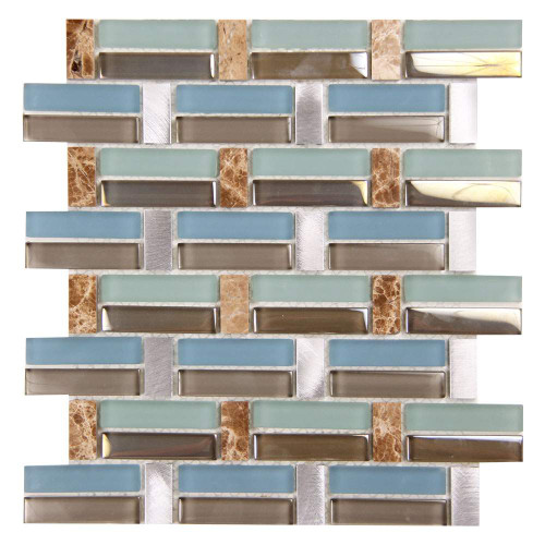 Syrinx Weave Coastal Blue Green Glass Tile With Metal And Stone