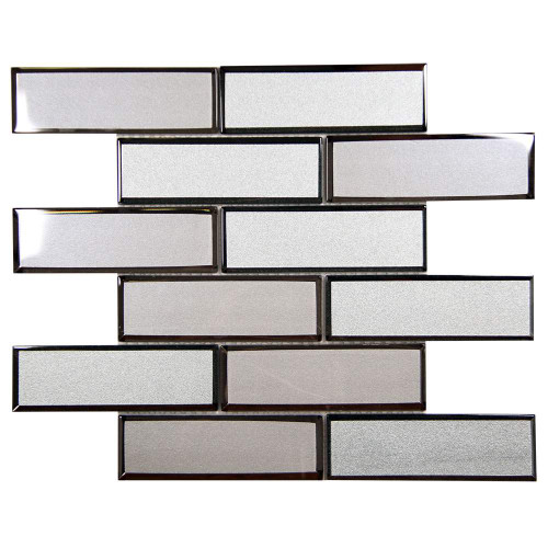Mirror Linear Mix Beveled Subway Glass Tile