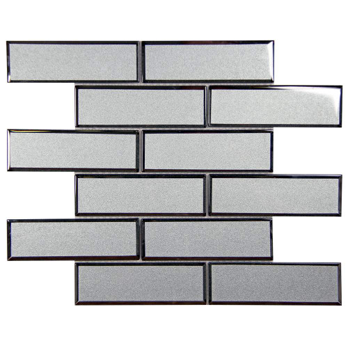 Mirror Linear Grey Beveled Subway Glass Tile