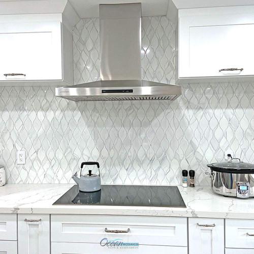 Calacatta Grey Teardrop Recycled Glass Tile Kitchen Backsplash Idea