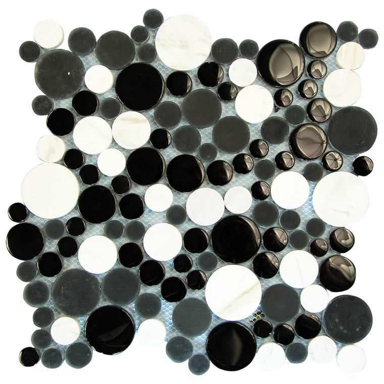 Agata Circle Black and White backsplash Mosaic Glass Tile