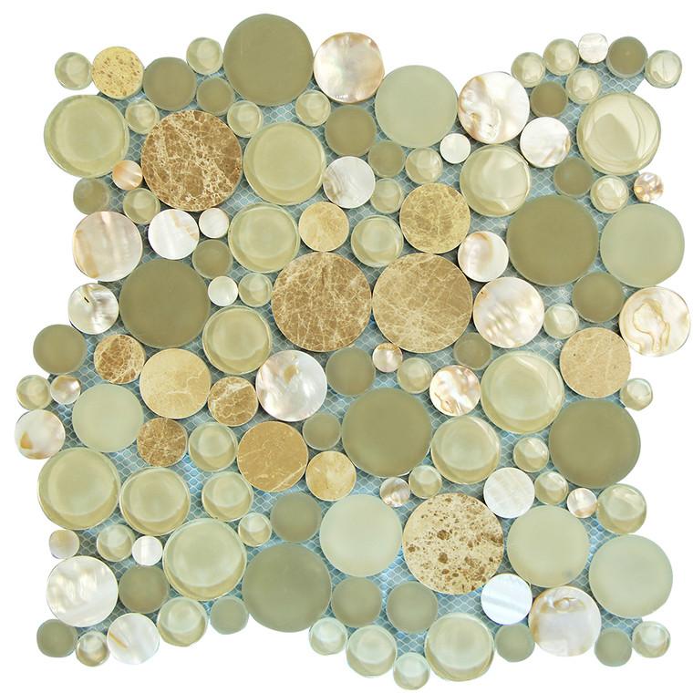 Agata Circle Shell Beige backsplash Mosaic Glass Tile