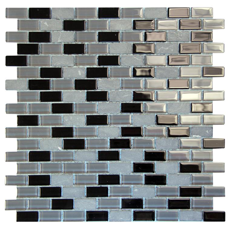 Basic Cross Black Mosaic Glass Tile