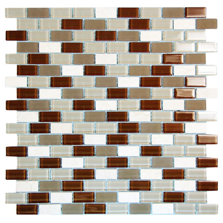 Basic Cross Brown Mosaic Glass Tile