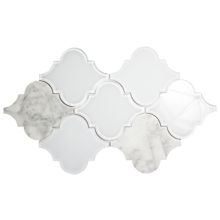 Clover Arabesque Blanco Mosaic Glass Tile