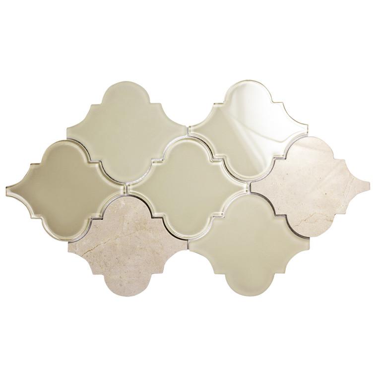 Clover Arabesque Crema Mosaic Glass Tile