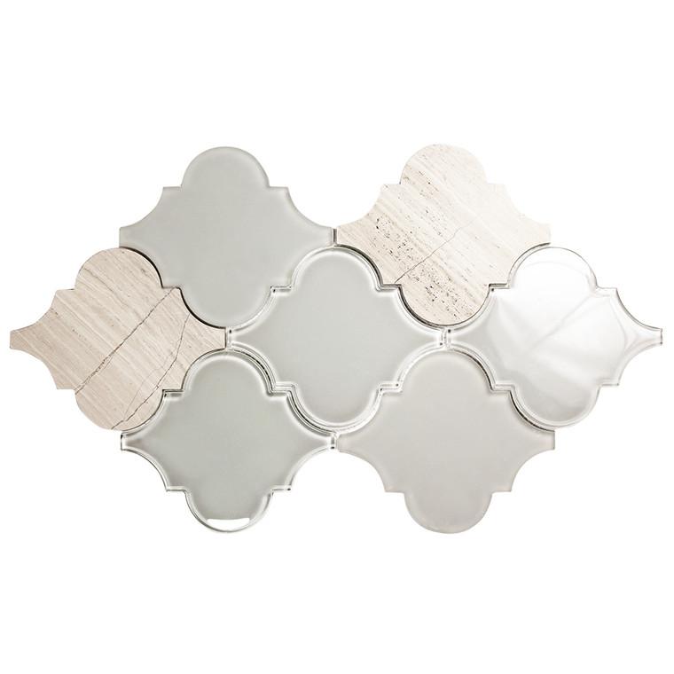 Clover Arabesque Grigio Mosaic Glass Tile