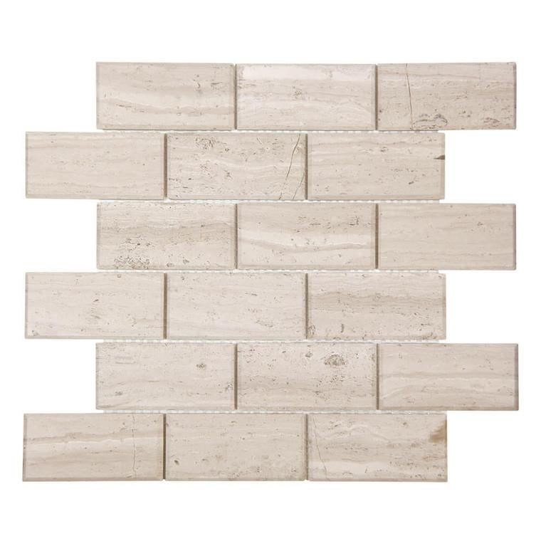 Gulfstream White Wood 2x4 Beveled Subway Stone Tile