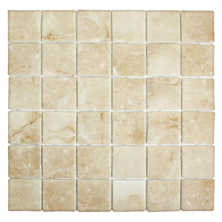 Sandbar Square Mix Cream Recycled Glass Tile