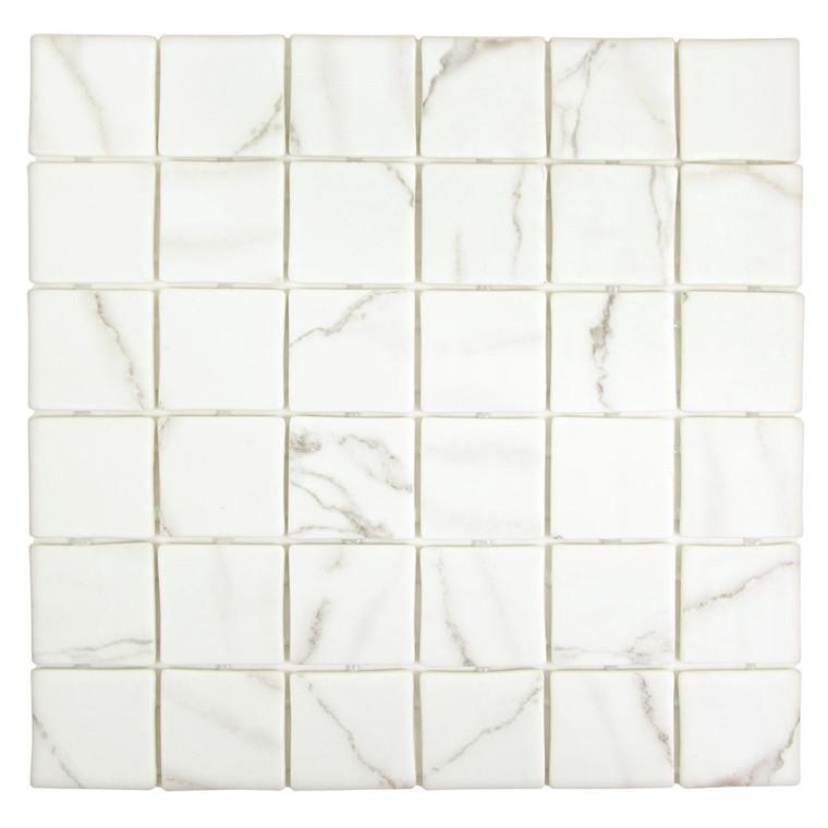 Sandbar Square White 2x2 Recycled Glass Tile
