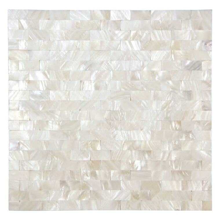 South Seas Super White Mini Brick Subway Pearl Shell Tile